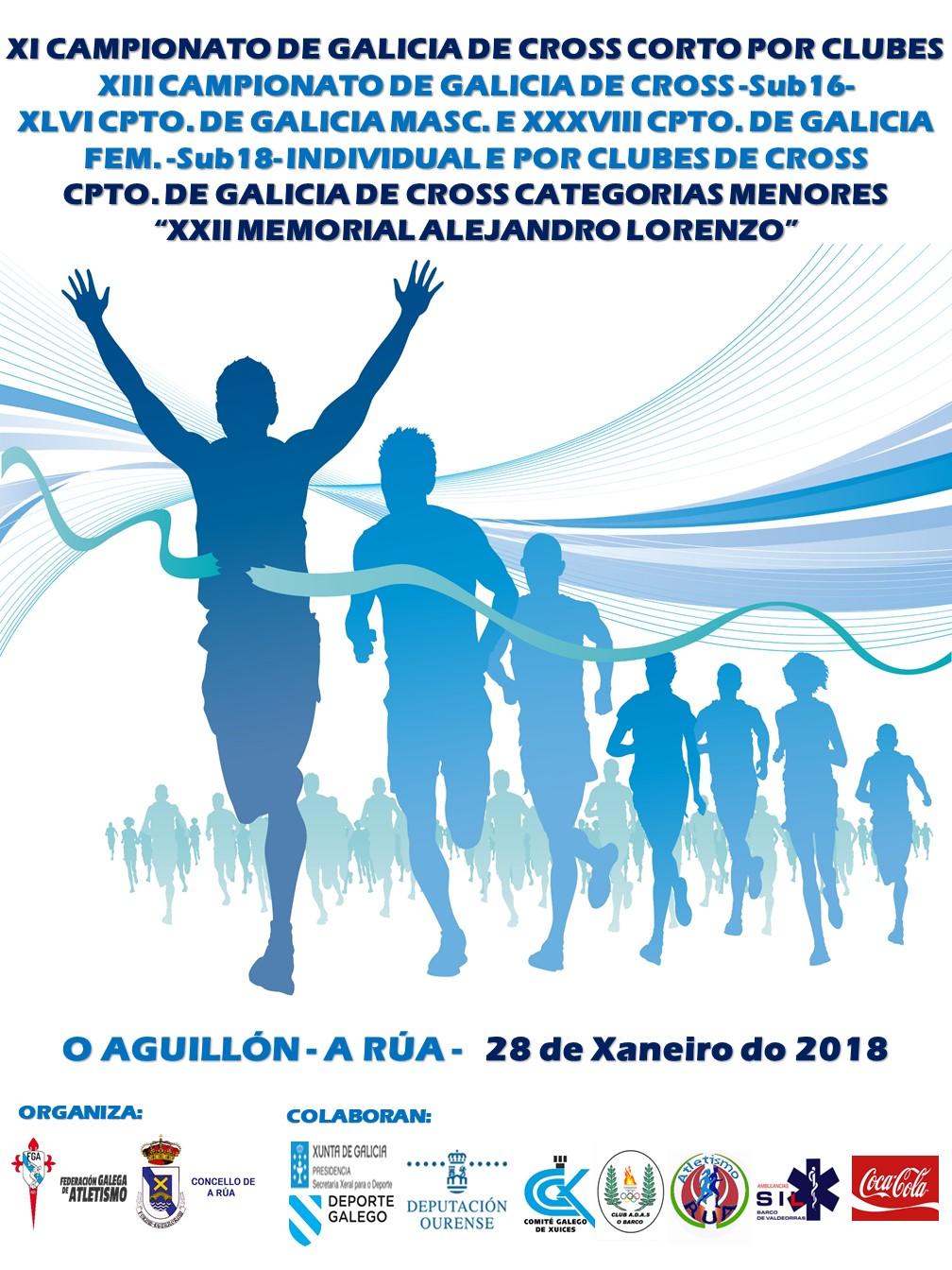 XIII Campionato de Galicia Sub16 (CAD) – XLVI Sub18 (XUV) H – XXXVIII Sub18 (XUV) M Individual e Clubs de Campo a Través